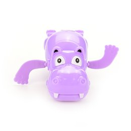 Wholesale Horse Wind Up Toy - Wholesale- Baby Educational Toys Hippo Swim Toys Hippopotamus Behemoth Clockwork Wind Up Plastic Infant Kids Swimming Toy River Horse 1PC