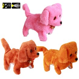 Wholesale Dog Walking Light - Wholesale- Cute!!!! TY Big Eyes Toy Electronic Walking Dog Pet With Light And Sounds Stuffed Plush Doll For Baby Kids