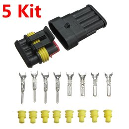 Wholesale Waterproof Electrical Connector Pin - Brand New 5 Kits Car Auto 4 Pin 4 Way Sealed Waterproof Electrical Wire Connector Plug Set