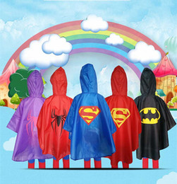 Wholesale Polyester Kids Outwears - New cute practical Kids Rain Coat children Raincoat Rainwear Rainsuit Kids Waterproof Superhero Raincoat outwear clothing