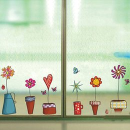 Wholesale Landscape Window Decals - Cute Flower Wall Sticker Kitchen Window Sticker Butterfies Wall Stickers Home Decor Bathroom Vinyl Wall Decals Kids Rooms Decor