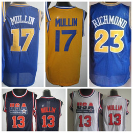 Wholesale Mens Shirt Usa - Cheap Mens 17 Chris Mullin Throwback Jerseys USA Dream Team Retro 23 Mitch Jason Richmond Shirts Retro Uniforms Rev 30 New Material Stitched