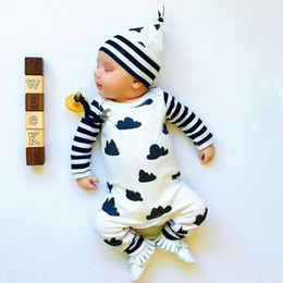 Wholesale Cloting Girl - Wholesale- 2017 autumn fashion infant cloting Baby Boy Girl Romper Long sleeve cartoon jumpsuit+hat 2 pcs newborn toddler baby clothes