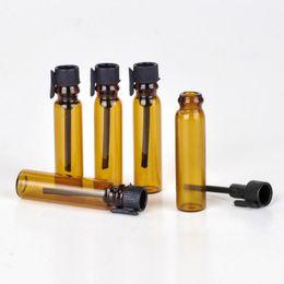 Wholesale Free Samples Perfume - Wholesale 1000pcs lot 1ML Mini Glass Perfume Small Sample Vials Amber Perfume Bottle 1ml hot Sale Test Tube Trial Bottle Free DHL