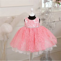 Wholesale Christening Gowns For Newborns - Wholesale- Toddler Girls Tutu Wedding Dresses Lace Flower Girls Clothes Newborn Baby Christening Gown Dress For Kids 1 Year Birthday Dress