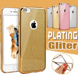 Wholesale Rubber Edges - Plating Glitter Electroplating TPU Soft Case Slim Transparet Rubber Cover For iPhone 8 7 Plus 6 6S SE 5 5S Samsung S8 S7 edge Note 5