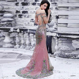Wholesale Dress Real Picture Celebrity - Sparkly Rhinestone Mermaid Prom Dresses Off Shoulder Sequins Beaded Celebrity Party Dress 2017 Custom Made Real Picture Luxury Evening Gowns