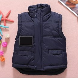 Wholesale Girls Mandarin Collar - Baby Vest Jacket Children Solid Winter Outerwear Coats Clothing Plus Cotton Warm Clothes for Boy Girl Thick Toddler Waistcoat