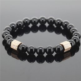 Wholesale Stretch Bracelet Connectors - 1PC 8mm Beads Men Stretch Bracelet Black Onyx Agate Stone Antique Cubic Zirconia Connector Beaded Bracelet