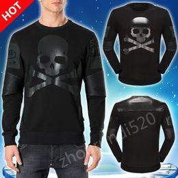 Wholesale Men S Flower - Hot New men PP skull sweater sets of round neck flower casual men' s Medusa black Long sleeved T-shirt M-3XL Free shipping