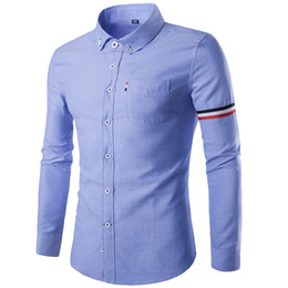 Wholesale Asian Slim Fit Size - Wholesale- Men's Long-Sleeved Shirt 2016 Autumn Slim Fit Casual Camisa Masculina Top Quality Oxford Sleeve Striped Shirts Asian Size M-4XL