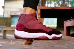 Wholesale Womens Basketball Shoes Size 11 - Air Retro 11 Red Velvet Heiress GS Red Silk Basketball Shoes Mens Womens XI Retro 11s Velvet Heiress Sneakers Size US 5-13