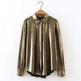 Wholesale Sleeveless Woman Blouse Collar - Women Button Down Collar Shirt Metallic Shiny Gold Pleats Casual Formal Fashion Loose Slim Fit Blouse Shirts All Match