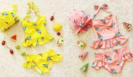 Wholesale Girls Ice Cream Top - 2017 New Girl Swimwear Cherry Ice Cream Top+Shorts+Hat Three Piece Hot spring Sweet Swimming Suit 2-7Y 6104