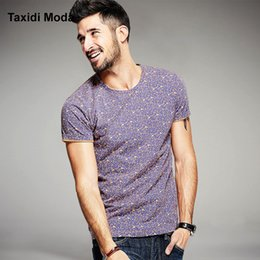 Wholesale Bird Shirt Mens - Wholesale- 2016 Summer Mens Casual T Shirts 100% Cotton Brand Clothing Purple Flower Bird Print Short Sleeve Man's T-Shirts Tops Tees