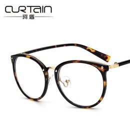 Wholesale Eyewear Glasses Nose - Wholesale- Rivets Cat eye Women Clear lens Reading glasses Can use Short sight Optical glasses Golden Nose Oculos Fashion Eyewear N728