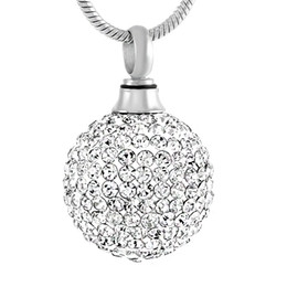 Wholesale Clear Crystal Balls - IJD8865 Clear Crystal Ball Stainless Steel Cremation Pendant Necklace Memory Funeral Ashes Keepsake Urn Necklace Jewelry