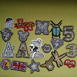 Wholesale Wholesale Number Iron Patch - 10pcs number Beaded Patches For Clothing Iron On Glitter Patch letter Embroidered Dress Jacket Fabric Garment Patchwork Badge Applique
