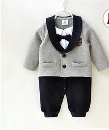 Wholesale Winter Down Baby Jumpsuits - INS baby boys gentleman rompers newborn cotton black bows tie long sleeve lapel jumpsuit 2017 new spring toddler kids fashion clothes C0281