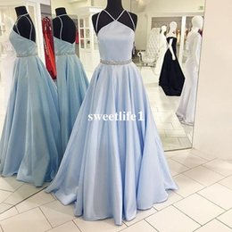 Wholesale Beaded Empire Waist Halter Dress - Light Sky Blue Prom Dresses 2017 Halter Neck Stain Waist With Beaded Crystal Floor Length A Line Formal Evening Dresses Occasion Gown