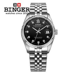 Wholesale binger men watch - Geneva Brand Binger High Quality Military Watch Men Lovers Watches Fashion Luxury Automatic Stainless Steel Band Man Black Wristwatch