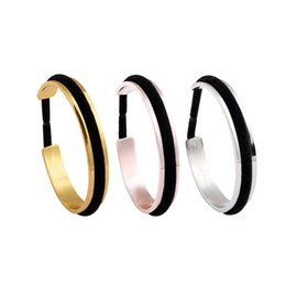 Wholesale Tie For Men Wholesaler - High polished Grooved Cuff Bangle Hair Tie Bracelets Hair Band Fashion Jewelry Silver Rose Gold Gold For Men or Women