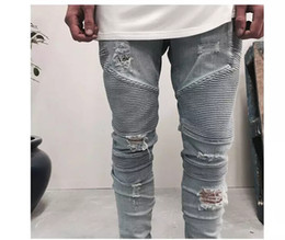 Wholesale Mens Pants Size 38 - blue black mens slim straight Denim jeans Long Casual men jeans Size 28-38