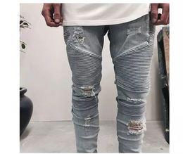 Wholesale Men Jeans Size 38 - blue black mens slim straight Denim jeans Long Casual men jeans Size 28-38