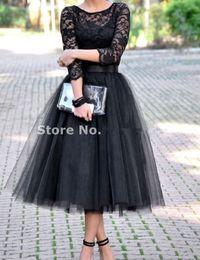 Wholesale Tea Length Bridal Party Dresses - 2017 Cheap Three Quarter Bridesmaids Dresses Black Tulle Skirt Plus Size Bridal Shower Tea Length Party Dress Free Shipping