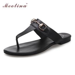 Wholesale Open Thongs Women - Wholesale-Ladies Summer Sandals Flip Flops Natural Genuine Leather Shoes Women Sandals Ladies Slippers Thong Shoes Slides Big Size 9 10