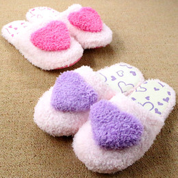 Wholesale Heart Shape Slippers - Wholesale-Warm Winter Plush Women Indoor Slippers Velvet Anti-slip Heart Shape Home Shoe Coral Cotton Soft Plush Pantufas Pantoufle Femme