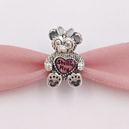 Wholesale Silver Charm Bracelet Pink - Authentic 925 Sterling Silver Beads Shelliemay With Pink Enamel Charms Fits European Pandora Style Jewelry Bracelets & Necklace 792130ENMX
