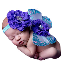 Wholesale Infant Butterfly Costumes - New Design Newborn Photography Props Infant Costume Outfit Butterfly Wings Flower Headband New Baby Photo Props Free Shipping