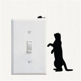 Wholesale Mouse Sticker - Sticker Animal Vinyl Decor Cat And Mouse Switch Stickers Room Windows Socket Decoration Wallpaper Environmental Protection Adornment