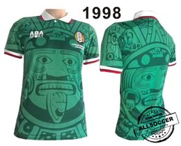 Wholesale Vintage Retro - Retro Version 1998 Mexico World Cup Classic Vintage Mexico retro jersey HERNANDEZ football shirt Top Thailand Quality