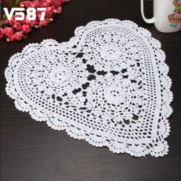 Wholesale Wholesale Heart Doilies - Wholesale- Heart Shape 3D Flower Crochet Lace Doilies 33x33CM White Cup Placemat Tablecloth Table Desk Decoration Wedding Home Favor