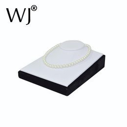 Wholesale Leather Display Bust - White Faux Leather Mannequin Jewelry Necklace Display Bust Pendant Presentation Holder Stand Neck Form Model Horizontal Showcase