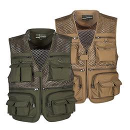 Wholesale Photography Men - Outdoor Fishing Vest Summer Hunting Vest Jackets Multi-pockets Professional Photography Working Wear Vest Men Waistcoats WM0158