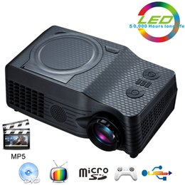 Wholesale Rmvb Video - Wholesale-Home Theater Full HD native 1080P Video Portable proyector EC-539A projector With DVD,FM,RMVB(MP5),TV,GAME,USB,TF Card,AV IN