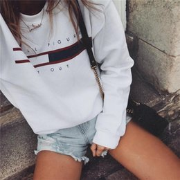Wholesale Ladies Sweatshirts - HE'LL FIGURE IT OUT Letter Print Striped Panelled Ladies Sweatshirt Crew Neck Long Sleeve Hollow Out Casual Hoodies Feminas Autumn Tops