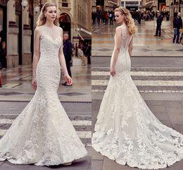 Wholesale Korean Brides Dresses - High Quality Custom 2018 Summer Europe And America New Wedding Dress Waist Tail Beach Wedding Lace Sleeveless Korean Bride Wedding Tail Long