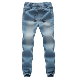 Wholesale Wash Design Denim Pant - Wholesale-Fashion Designs Mens Jeans Drawstring Washed Blue Slim Fit Denim Trousers Male Trend Boys Biker Jeans Pant Men Joggers Plus 5XL