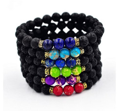 Wholesale Ceramic Gifts Crafts - Lava Rock Beads Charms Bracelets colorized Beads Men's Women's Natural stone Strands Bracelet For Fashion Jewelry Crafts