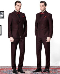 Wholesale Pinstripe Mens Clothing - Side Vent Double-Breasted Burgundy Groom Tuxedos Peak Lapel Groomsmen Mens Wedding Suits Clothing Prom Suits (Jacket+Pants+Tie) AA1120