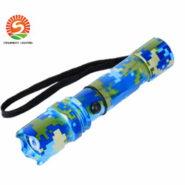 Wholesale Portable Range - LED outdoor Flashlights Camouflage appear for Camping 200M shine range Cree LED 3 modes Aluminium +charger resale package