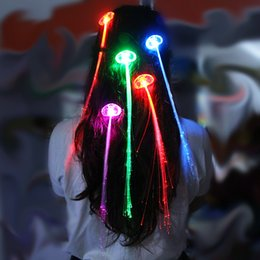 Wholesale Butterfly Wig - LED Colorful Flash Butterfly Headdress LED Light Fiber Braided Wig Luminous Hair Braids Hairpin Party Club Decorations Rave Toy