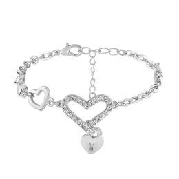 Wholesale Vintage Asian Charm Bracelet - Heart Lock Rhinestone Crystal Bracelets For Women Jewelry Designer Punk Party Vintage Gold Color Bracelets Bangles Chain Fashion Wholesale