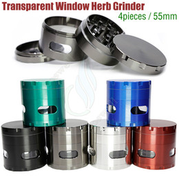 Wholesale Tabacco Vaporizer - New Stytle Side Window Grinders 55mm 4 Layers Metal Zinc Alloy Herb Tabacco Grinder chamfer transparent windows Grinders herbal vaporizer