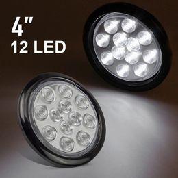 "Wholesale Flush Mount Tail Lights - 1pcs 4"" Round 12 LED White Marker Clearance Turn Stop Tail backup Reverse Marker Light w Flush Mount"