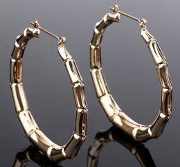 Wholesale Dangling Hoop - hip hop bamboo joint hoops earrings exaggerate hallow out ring dangles chandelier night club pub ear jewelry